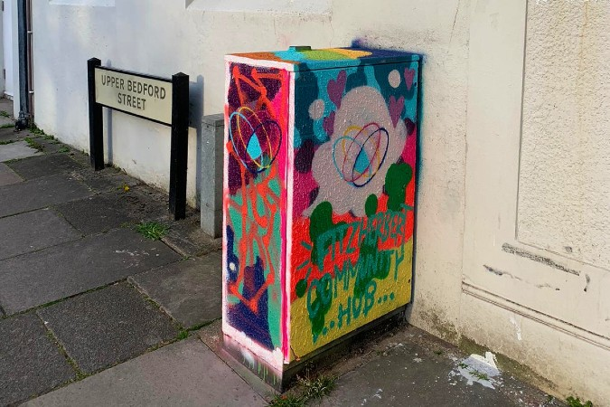 The Fitzherbert Community Hub logo immortalised in street art by Sinna One!